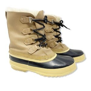 Sorel Winter Snow Boots Leather Waterproof Tan 7